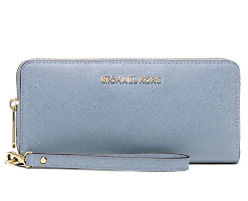 Michael Kors Jet Set Travel Zip Around Continental Saffiano Leather Wallet Pale blue 32S5GTVE9L ()