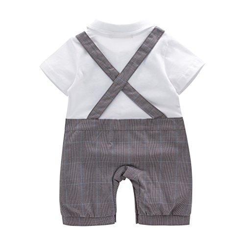 May's Baby Boys Short Sleeves Faux Suspenders Rompers Onesie with Cap