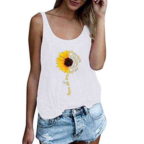 Drindf Womens Top Women's Summer Sleeveless Tops, Casual Tank Tops Size S-3XL Sunflower Vest T Shirt Blouse White
