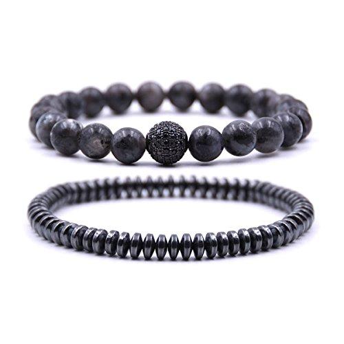 Bracelet Set Bead Stretch (Zhepin Black Men Women Bracelet Set Beads Bracelet Set for Men Handmade Jewelry Power Crystal Stretch Bracelets)
