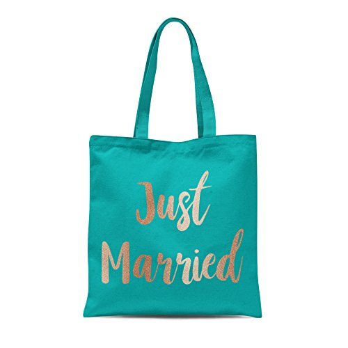 Bride Tote Groom Print Married Bag Wedding Rose Party Emerald Shopping With Gold Honeymoon Just Printed Gift 0wqTEYY