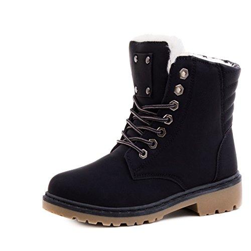 Damen Worker Boots Schnür Stiefeletten in Lederoptik Schwarz 36