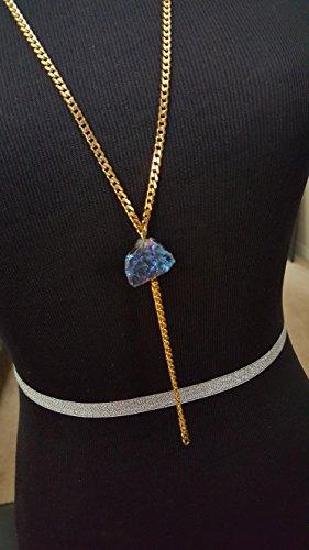 Chain Tassel Necklace with Titanium Rock Quartz Crystal (Crystals Titanium Collection)
