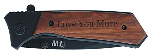 Christmas Gift for Boyfriend Love You More Laser Engraved Spring Assisted Tactical Knife Black Stainless Steel