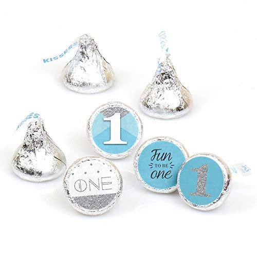 1st Birthday Boy - Fun to be One - First Birthday Party Round Candy Sticker Favors - Labels Fit Hershey's Kisses (1 Sheet of 108) -