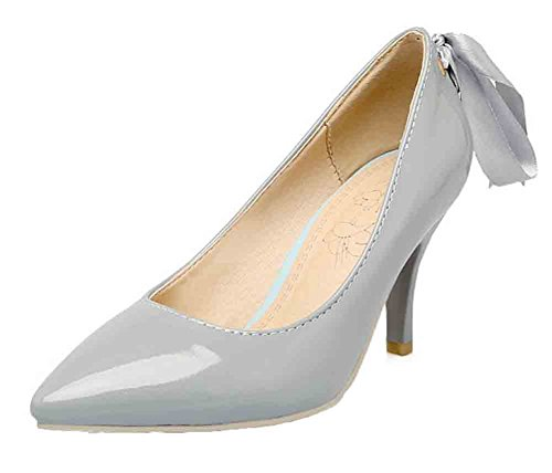 Easemax Para Mujer Con Estilo Puntiagudo Corte Bajo Hacia Atrás Con Cordones De Tacón De Aguja Alto Zapatos De Zapatos Grises