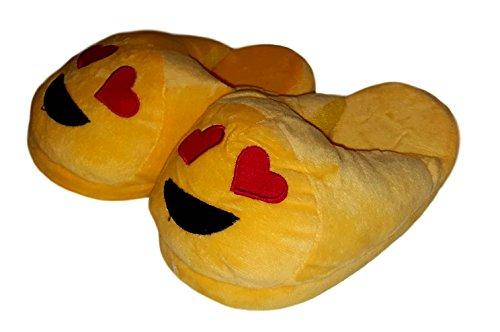 Children Kids Girls Emoji Plush Slipper (Large (4-5), in Love Emoji) by Royal Deluxe