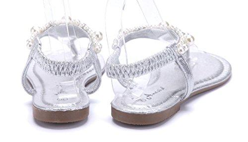 Schuhtempel24 Damen Schuhe Zehentrenner Sandalen Sandaletten Flach  Ziersteine Silber ... 30d8895614