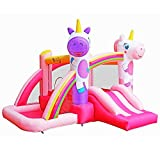 BestParty Inflatable Bounce House with Slide for Princess Pink Unicorn Inflatable Bouncer House