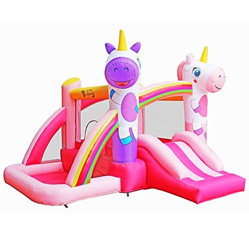 Big Save! BestParty Inflatable Bounce House with Slide for Princess Pink Unicorn Inflatable Bouncer ...