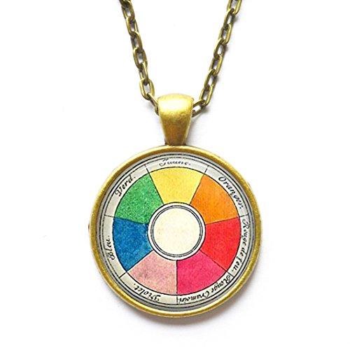 - Retro Artist Necklace Vintage French Color Wheel Pendant Art Teacher Gift