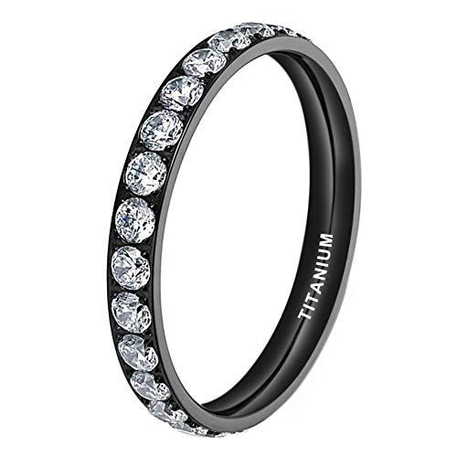 iTungsten 3mm Black Titanium Rings for Women Men Eternity Wedding Engagement Band Cubic Zirconia Inlay Comfort Fit