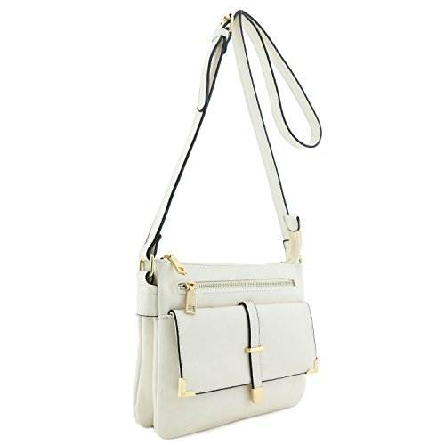 Double Bag Off Pocket White Compartment Flap Crossbody 7qnHg7r