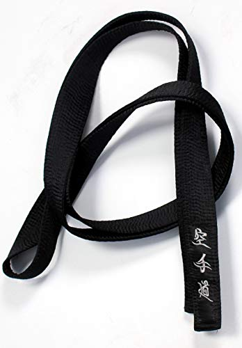 New Karate Black Belt Satin Silver Embroidery in Japanese 320cm Length Kempo Kickboxing