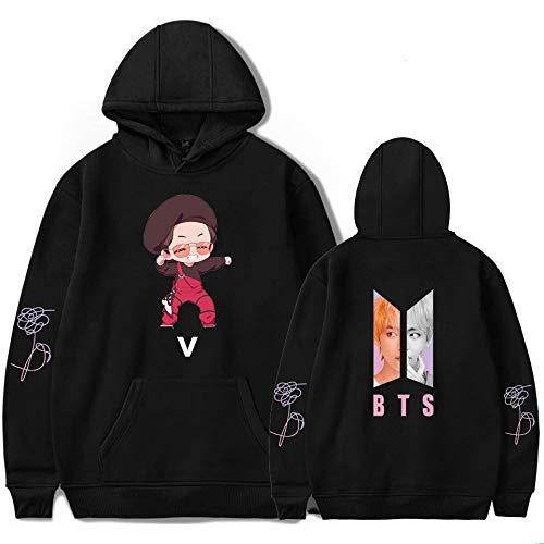 KAPAIDASHI BTS, V antiProiettile Junior Group Abbigliamento 2018 Nuova Edizione Q Teen Trend Uomini e Donne Hooded Camicie con Cappuccio,nero,XS