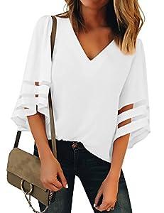 Lookbook Store Women's V Neck Mesh Panel Blouse 3/4 Bell Sleeve Loose Top Shirt
