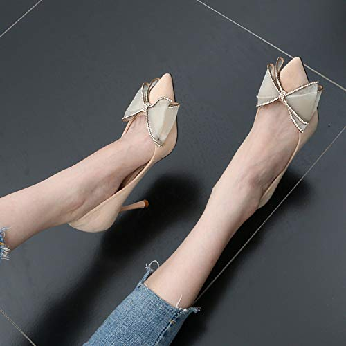 Sexy Women'S Tie Drill High Shoes Summer 9Cm Heel Bow Wedding Head Shoes SFSYDDY Beige Heel Shallow Pointy Slender Shoes Caw1q84