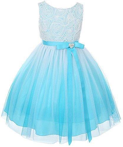 Tulle Rosette Spring Easter Flower Girl Dress in Ombre Aqua - 6