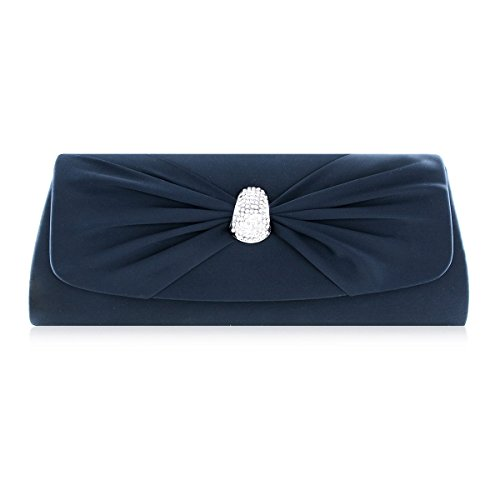 Damara Womens Bowknot Flap Satin Snap Party Handbag,Navy Blue