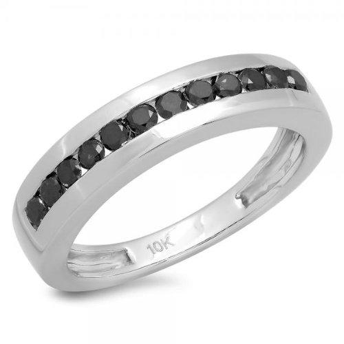 0.50 Carat (ctw) 10K White Gold Round Black Diamond Men's Hip Hop Wedding Band Anniversary Ring 1/2 CT (Size 10) by DazzlingRock Collection