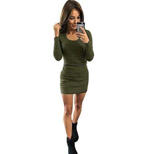 Damen KleiderFrauen Fashion Sexy Solid Langarm Slim Dress Army Green ...