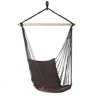 "Espresso Brown Cotton Padded Swing Chair Hammock - Recycled cotton; wood frame with rope for hanging. Size: 39.5"" x 32"" x 55"" high. Max. Weight: 200 lbs. - patio-furniture, patio, hammocks - 417VWCAVL1L. SS400  -"