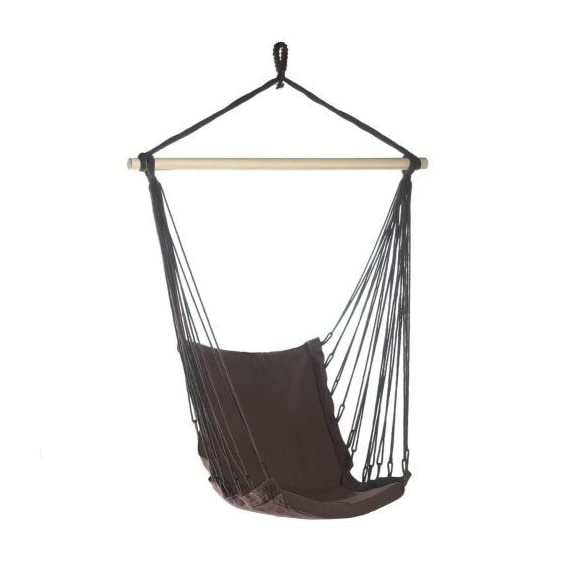 """Espresso Brown Cotton Padded Swing Chair Hammock - Recycled cotton; wood frame with rope for hanging. Size: 39.5"""" x 32"""" x 55"""" high. Max. Weight: 200 lbs. - patio-furniture, patio, hammocks - 417VWCAVL1L. SS570  -"""