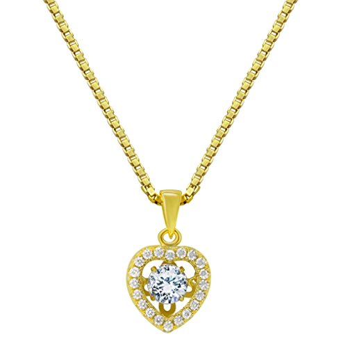 Without Stones Yellow Pendant - Nana Small Heart Dancing Stone Pendant Silver & CZ with 0.8mm 22