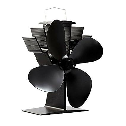 Ventilador para chimenea (funciona sin corriente con 4 alas, estufas Ventilador, Ecofan,