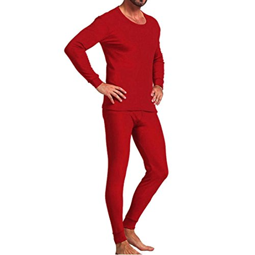 Sunfei Fashion Mens Nightwear Long Sleeve Pyjama Suit With Trousers (V-neck-Red, 3XL) by Sunfei
