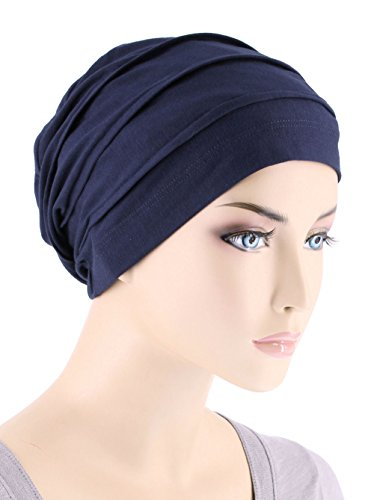 Lux Ultra Soft Bamboo Pleated Beanie Cap, Chemo Hats for Cancer Navy (Bamboo Hat)