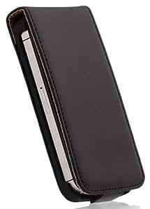 Wicked Chili 7501 - Funda de cuero artificial con tapa para Apple iPhone 4 / 4S, color negro/marrón