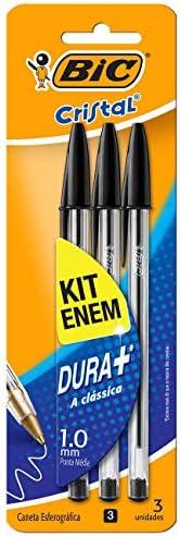 Kit Enem Caneta Esferográfica BIC Cristal Dura Mais Preta, 930095, 3 Unidades