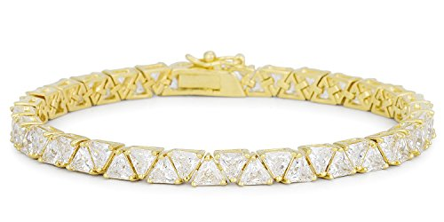 18k Gold Plated 7 Inch Trillion Cut Clear Cubic Zirconia Tennis Bracelet