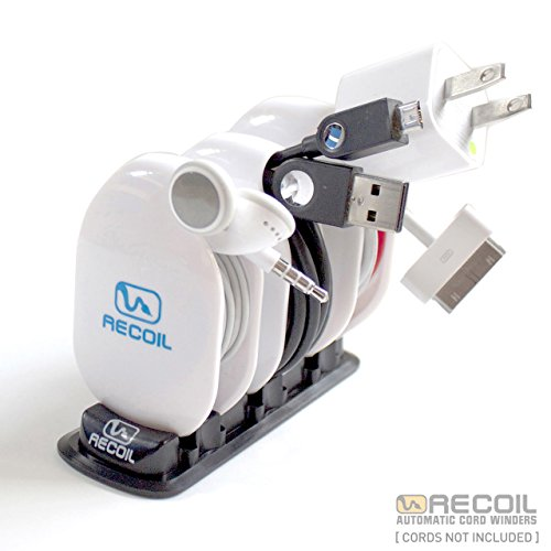 (Recoil Automatic Cord Winder for Headphones, USB Cables and Charger White.)