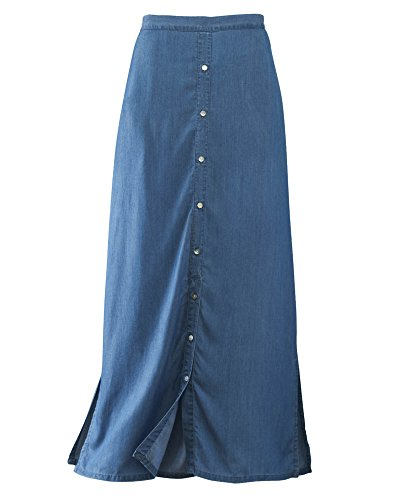 National Flowy Maxi Skirt, Stonewash, Petite Medium - Flat Front Petite Skirt