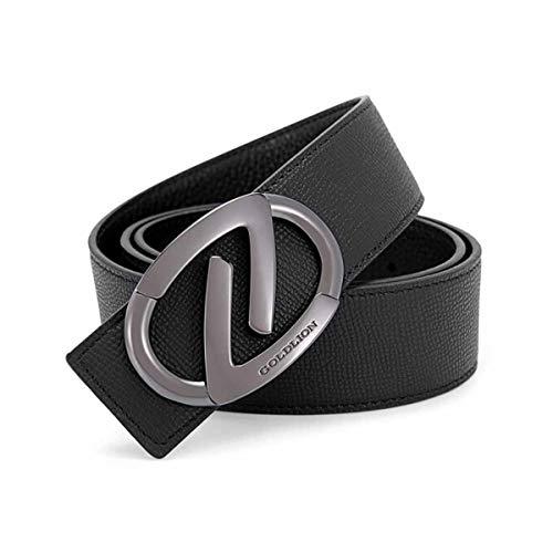 Hengtongtongxun Men's Belt, Business Casual Kraft Button Belt, Smooth Buckle Belt (Size : 115-120cm)