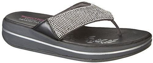 Skechers Women's Upgrades-Stone Cold-Rhinestone Thong Flip-Flop, Charcoal, 6 M US