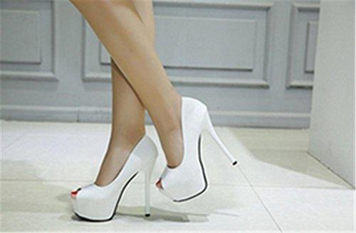 Nera Moda Pelle Alto Banchetto Di Yu Lh Piattaforma Di 34 Giudiziali Bianco Scarpe Nozze Sandali Molto Tacco In Stilleto Partito nRRT8Igwx