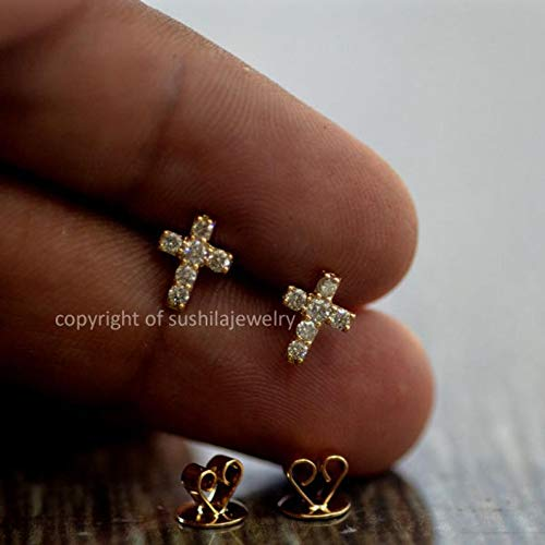 14K Solid Yellow Gold 0.11 ct Genuine SI Clarity G Color Diamond Cross Studs Earring Handmade minimalist Jewelry Wedding Gift Size 7 mm ()