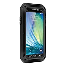 Waterproof Case for Galaxy A5,Shockproof Waterproof Dust Proof Love Mei Aluminum Metal Gorilla Glass Protection Hybrid Hard Powerful Case For Samsung Galaxy A5 (Black)