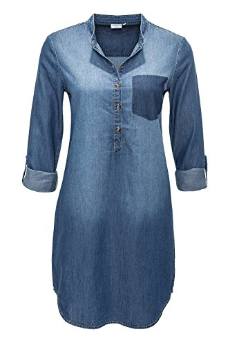 Jacqueline de Yong Damen Hemdblusenkleid Jeanskleid (S, Medium Blue Denim)