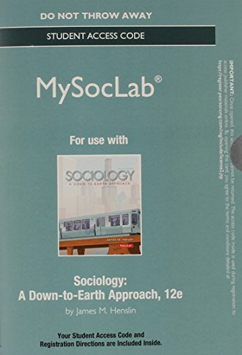 NEW MySocLab without Pearson eText -- Standalone Access Card -- for Sociology: A Down-to-Earth Approach (12th Edition) (Mysoclab (Access Codes)) (Card Text Discover Alerts)