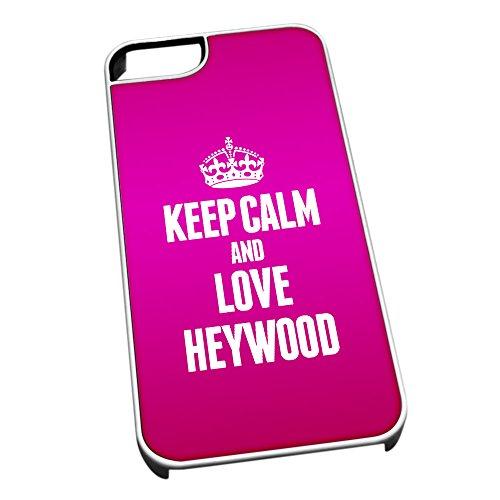 Bianco Custodia protettiva per iPhone 5/5S 0326Pink Keep Calm e Love Heywood