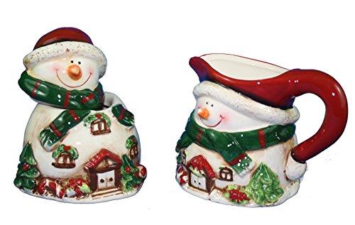 Victorian Snowman Sugar and Creamer ()