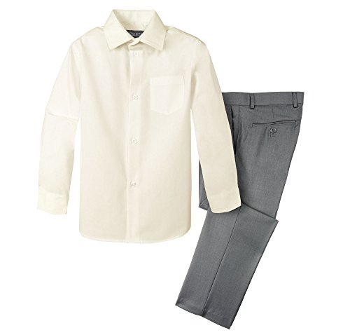 Spring Notion Boys' Dress Pants and Shirt 4T Grey/Ivory