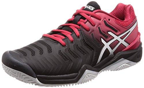 Asics resolution Noir Argent 7 Gel Tennis Terre En De Cuite Chaussures rHWPFr