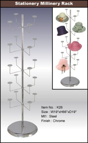 only mannequins Free Standing Steel Chrome 5 Tier Hat Rack Display (K26)