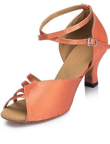 ShangYi Chaussures de danse ( Bleu / Marron / Rouge ) - Personnalisables - Talon Personnalisé - Satin -Latine / Jazz / Salsa / Samba / Chaussures Red