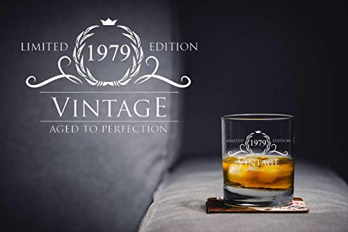 1979 Birthday Gifts for Women and Men Whiskey Glass - Funny Vintage Anniversary Gift Ideas for Him, Her, Dad, Mom, Husband or Wife. 11 oz Whisky Bourbon Scotch Glasses. Party Favors Decorations by Humor Us Home Goods (Image #5)